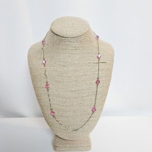 💥3 for $25💥 Pink Beaded Silver Necklace